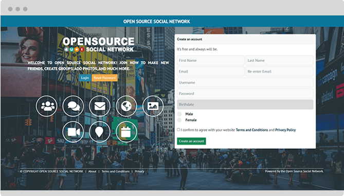 open source social network landing page